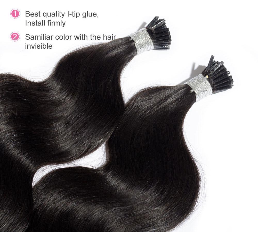 6 30 Inch 1 Jet Black Stick I Tip Body Wave Real Human Hair