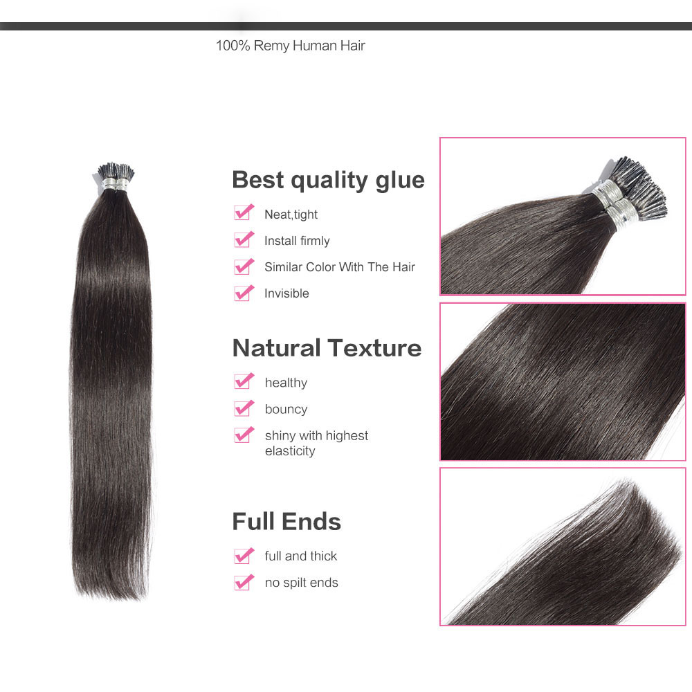 6 - 30 Inch #1B Natural Black Stick I Tip Straight Real Human Hair Extensions 100S 1