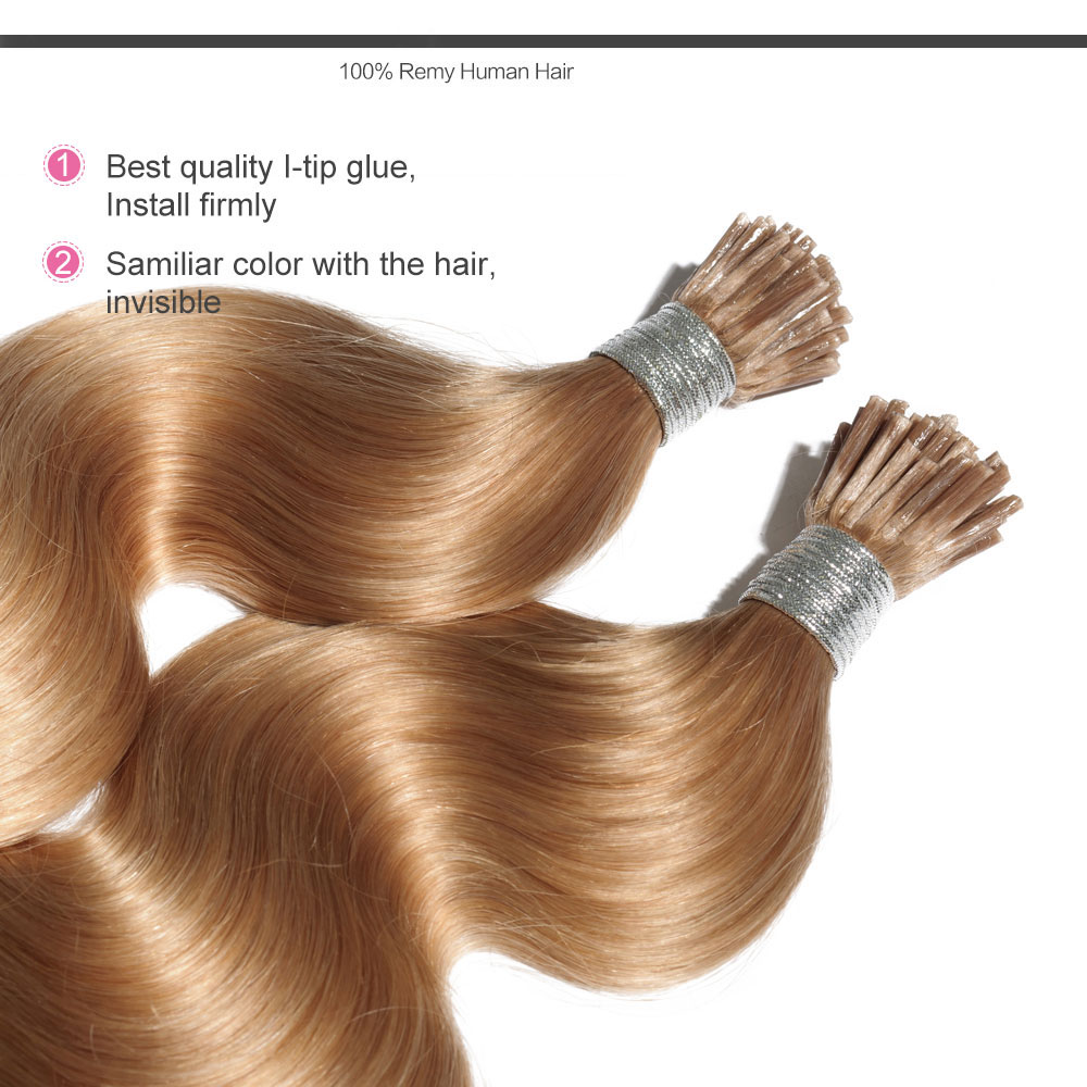 6 30 Inch 27 Strawberry Blonde Stick I Tip Body Wave Real Human
