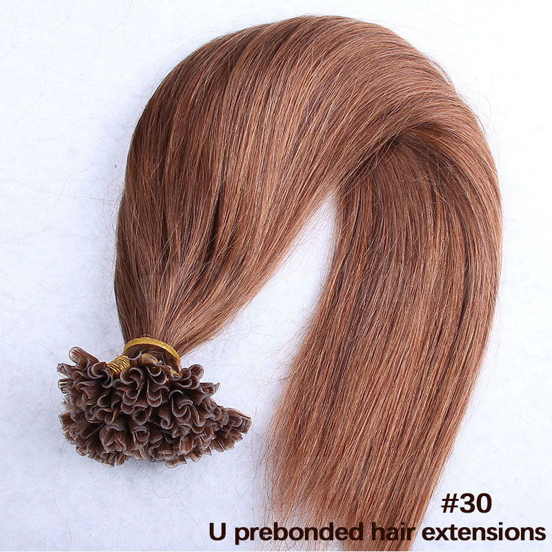 6 - 30 Inch #30 Straight  Nail U Tip Remy Human Hair Extensions 100s 5
