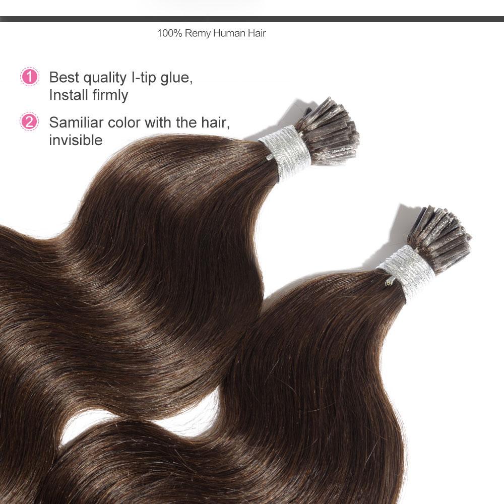 6 30 Inch 4 Medium Brown Stick I Tip Body Wave Real Human Hair