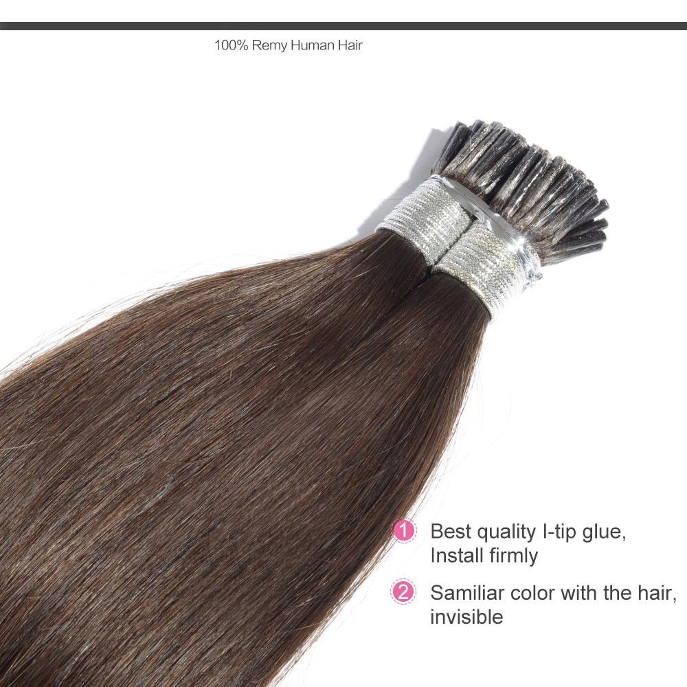 6 30 Inch 4 Medium Brown Stick I Tip Straight Real Human Hair