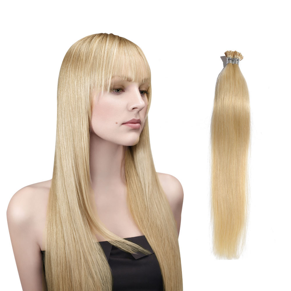 6 - 30 Inch #60 White Blonde Stick I Tip Straight Real Human Hair Extensions 100S