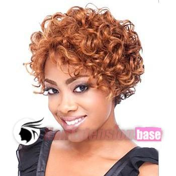 6 Inch Curly Short African American Hair Wigs 28 Light Auburn