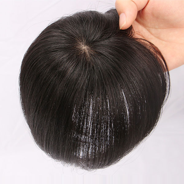 6 Inch Human Hair Topper Clip in Top Crown Hairpieces for Thinning Hair 7