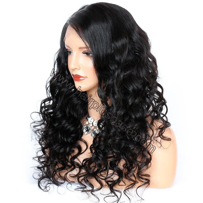 6 Inches Deep Part New Spiral Body Wave Lace Front Wigs Indian Remy Hair, 150% Density, Natural Color 1