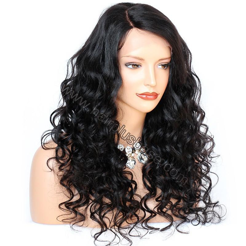 6 Inches Deep Part New Spiral Body Wave Lace Front Wigs Indian Remy Hair, 150% Density, Natural Color 2