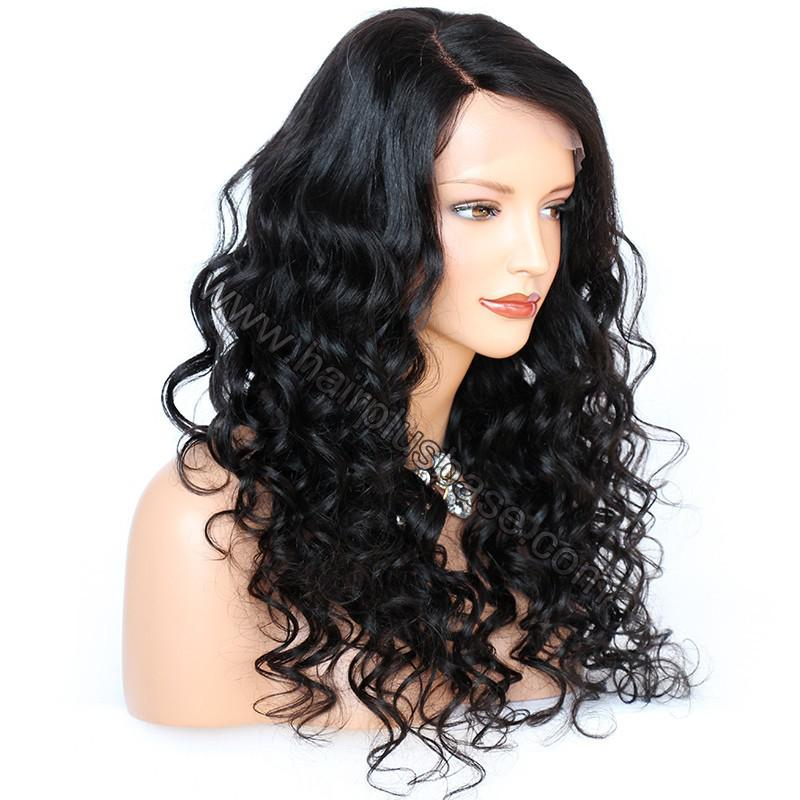 6 Inches Deep Part New Spiral Body Wave Lace Front Wigs Indian Remy Hair, 150% Density, Natural Color 3