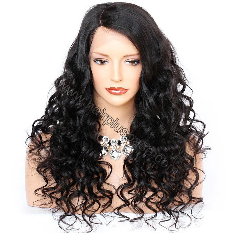 6 Inches Deep Part New Spiral Body Wave Lace Front Wigs Indian Remy Hair, 150% Density, Natural Color 4