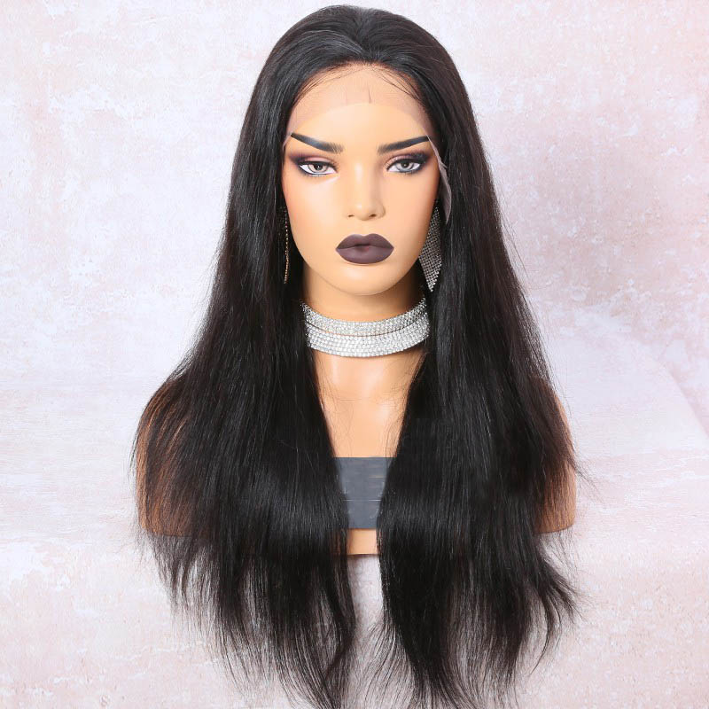 6 Inches Deep Part Silky Straight Lace Front Wigs Indian Remy Hair, 150% Density