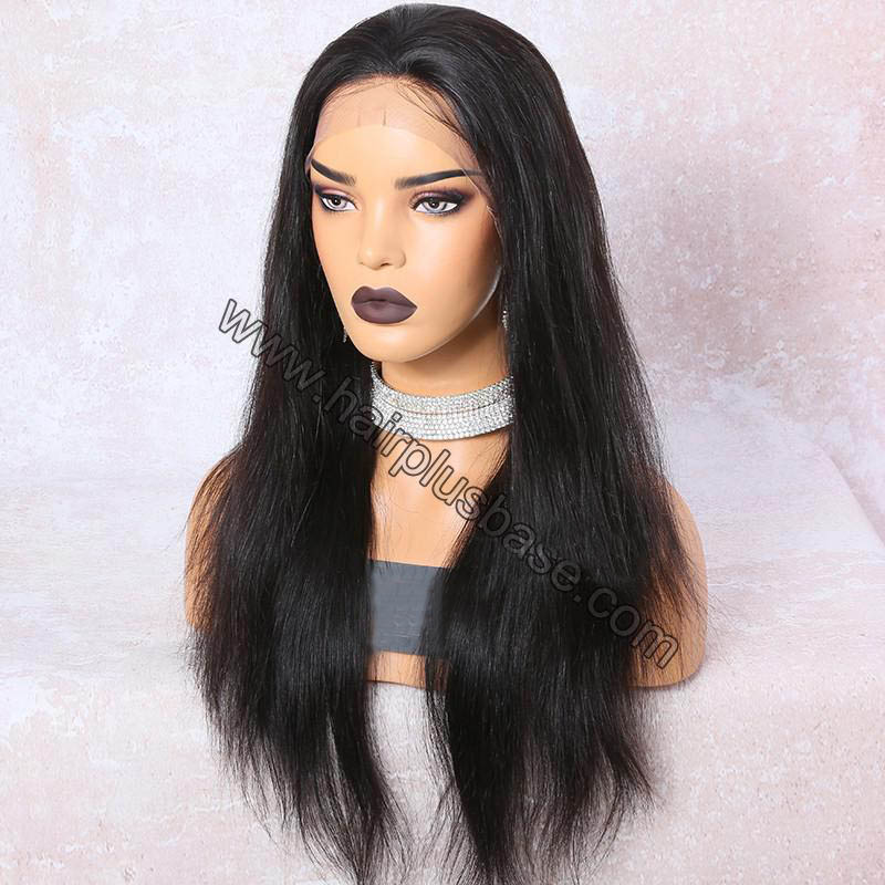 6 Inches Deep Part Silky Straight Lace Front Wigs Indian Remy Hair, 150% Density 1