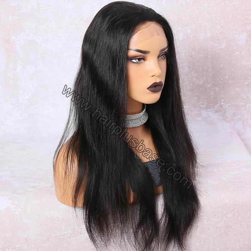 6 Inches Deep Part Silky Straight Lace Front Wigs Indian Remy Hair, 150% Density 2