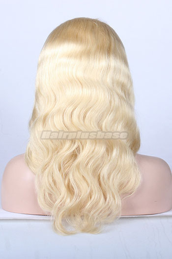 16 Inch #613 Bleached Blonde Chinese Virgin Hair Body Wave Full Lace Wigs