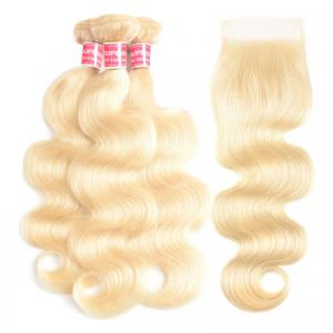 613 Color Body Wave Weave With Lace Closure Honey Blonde Closures