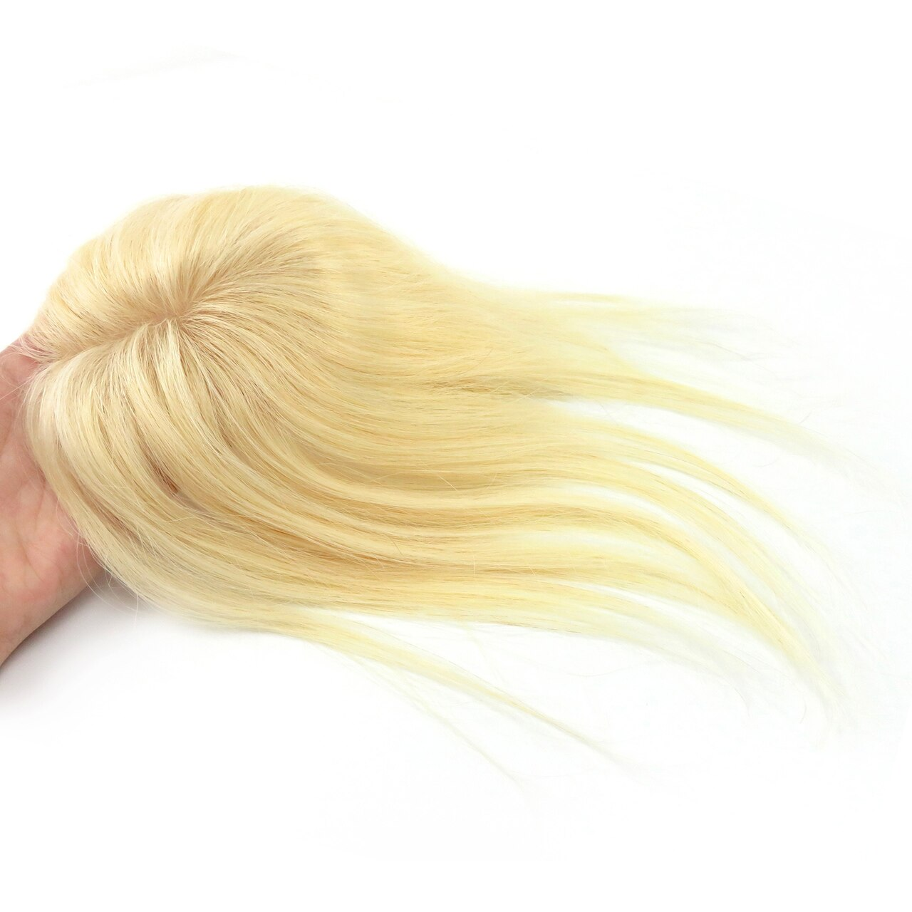613# Straight Remy Human Hair Topper Hairpiece Clip In Silk Top Toupee Women 4