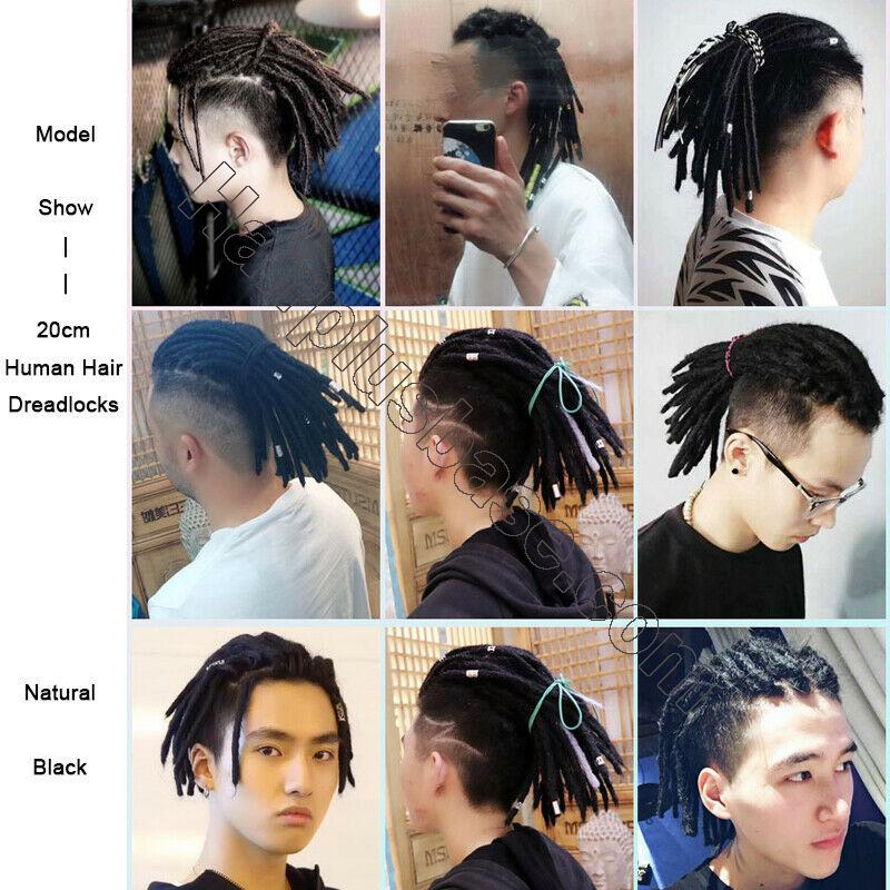 8 Inch Short Men's Dreadlocks 100% Human Hair Handmade Jamaican Dread Hair Extension 10