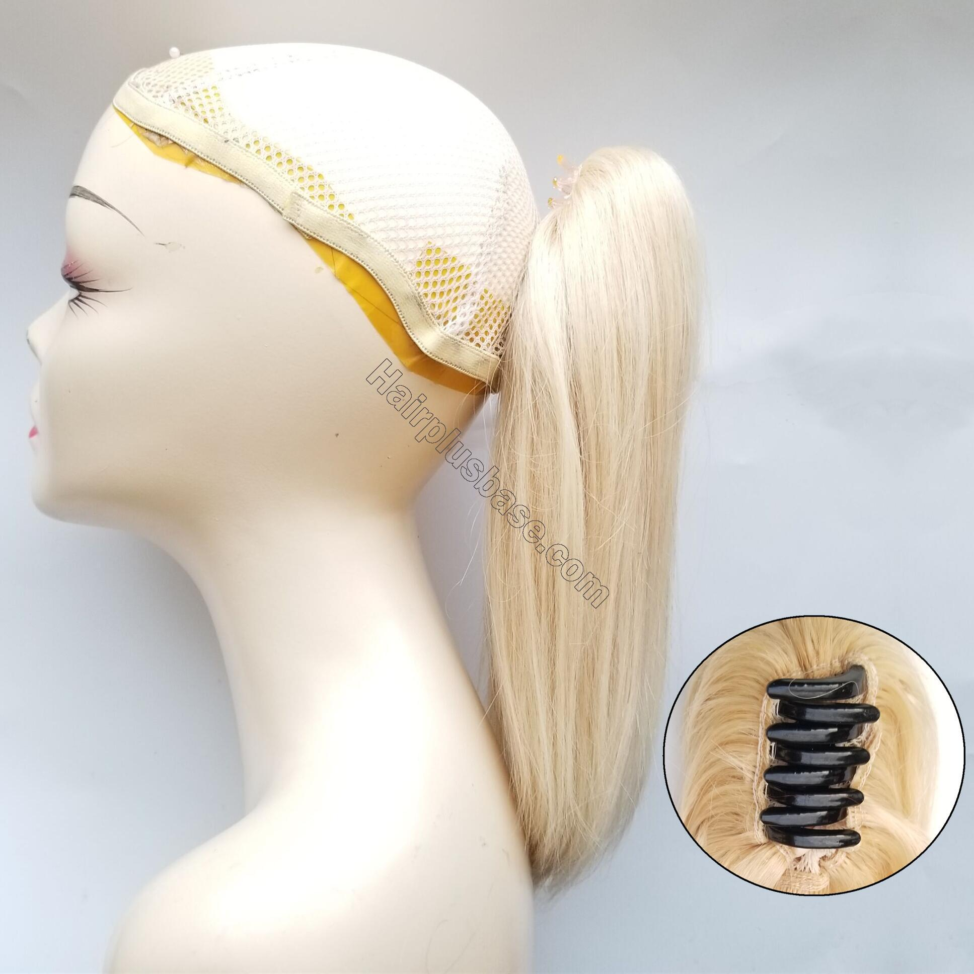 8 - 30 Inch Claw Ponytail Extension Human Hair #613 Bleach Blonde 3