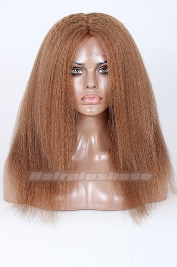 8# Color Kinky Straight Indian Remy Hair Full Lace Wigs{Custom Wig Production Time 30 days}
