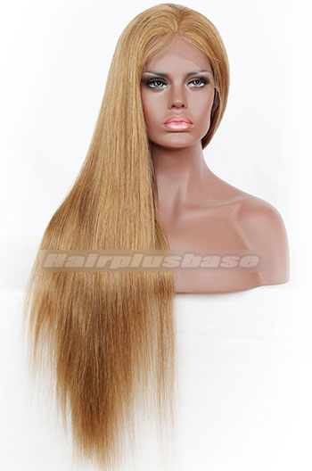 8# Color Silky Straight Indian Remy Hair Full Lace Wigs