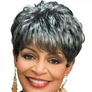 8 Inch Elegant Short Curly Gray African American Wigs for Women