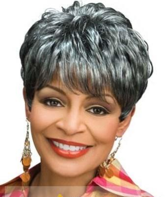 8 Inch Elegant Short Curly Gray African American Wigs for Women 6a0f95064b