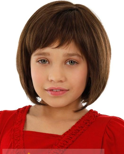 8 Inch Impressive Short Brown 100% Indian Remy Hair Wigs For Kids 99a4c726c50b