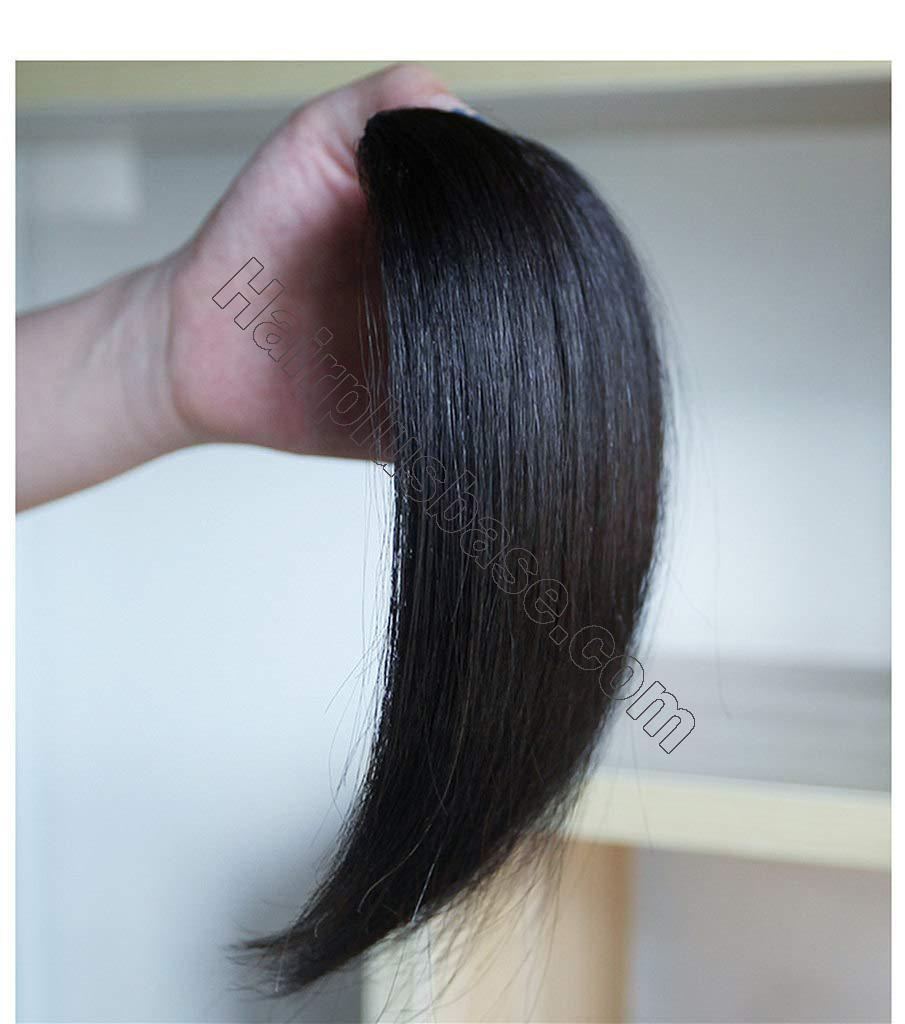 9.5 Inch Straight Human Hair Crown Wiglet Hair Piece for Men Slicked Back Clip in Hair Extensions 2