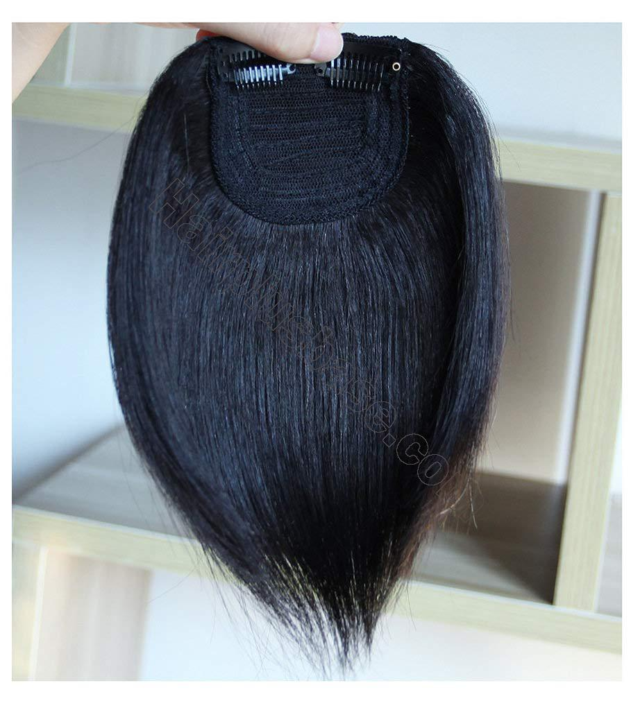 9.5 Inch Straight Human Hair Crown Wiglet Hair Piece for Men Slicked Back Clip in Hair Extensions 3