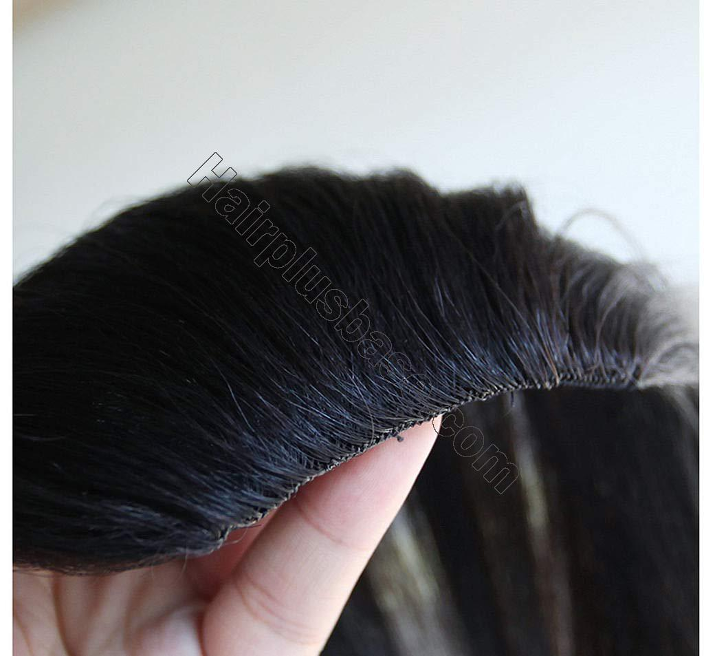 9.5 Inch Straight Human Hair Crown Wiglet Hair Piece for Men Slicked Back Clip in Hair Extensions 4