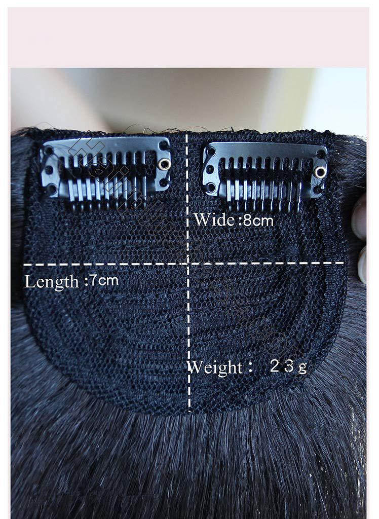 9.5 Inch Straight Human Hair Crown Wiglet Hair Piece for Men Slicked Back Clip in Hair Extensions 5