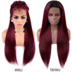 99J And 1B/99J Ombre Straight Lace Front Wigs With Baby Hair 150%-200% Density