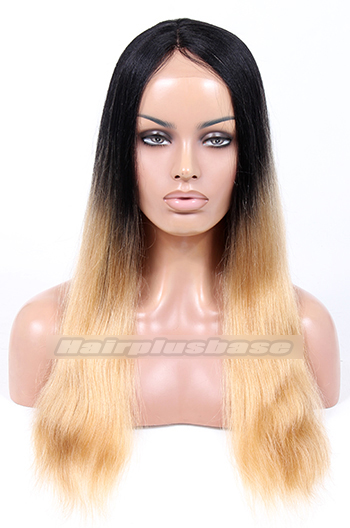 18 Inch Yaki Straight Ombre Blonde Indian Remy Hair Middle Part Glueless Lace Part Wigs