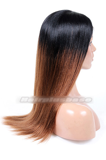 Indian Remy Hair Middle Part 18inches Long Style Ombre Brown Color Yaki Straight Affordable Glueless Lace Part Wigs