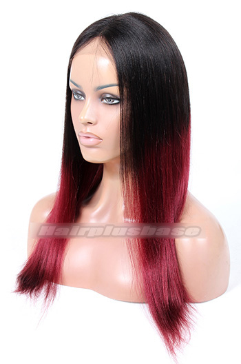 Indian Remy Hair Middle Part 18inches Long Style Ombre Red #99J Color Yaki Straight Affordable Glueless Lace Part Wigs