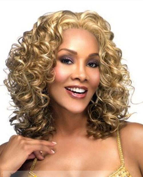 Afro American Wigs Medium Curly Blonde African American Lace Wigs for Women b5a51292c7