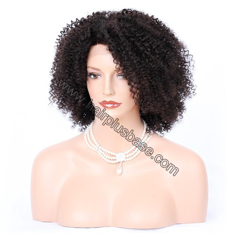 Afro Curly Lace Front Wigs Indian Remy Hair