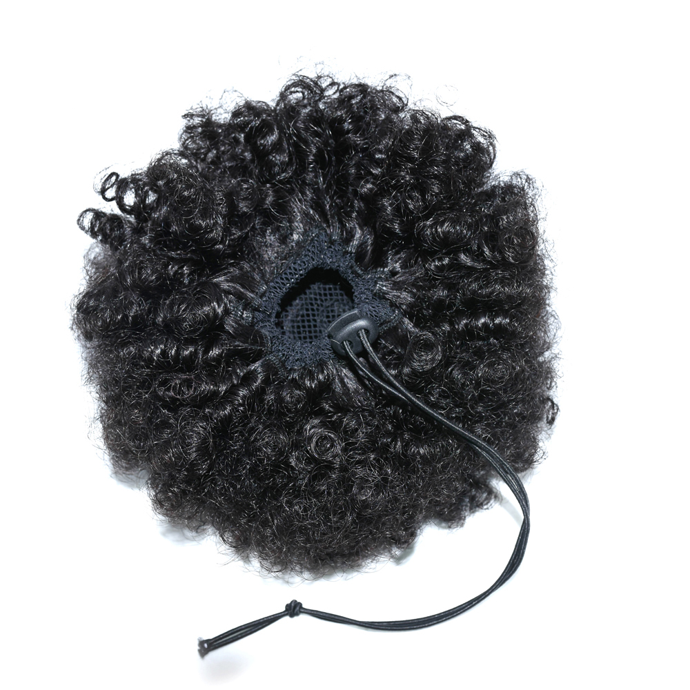 Afro Kinky Curly Ponytail Human Hair Extension Drawstring Pony Tail Clip In Brazilian Virgin Hair 2
