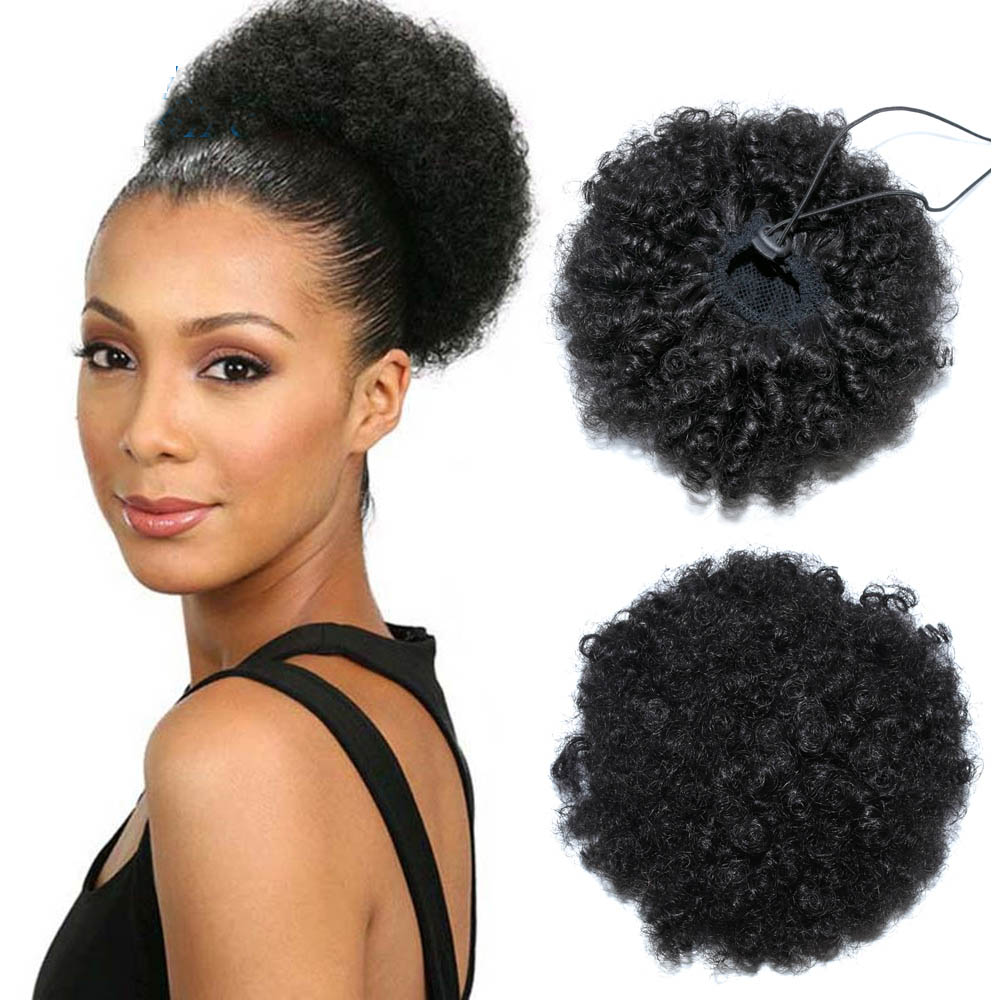 Afro Kinky Curly Ponytail Human Hair Extension Drawstring Pony Tail Clip In Brazilian Virgin Hair 4