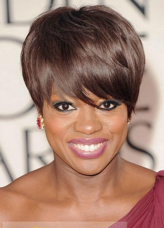 attractive short straight brown african american wigs for