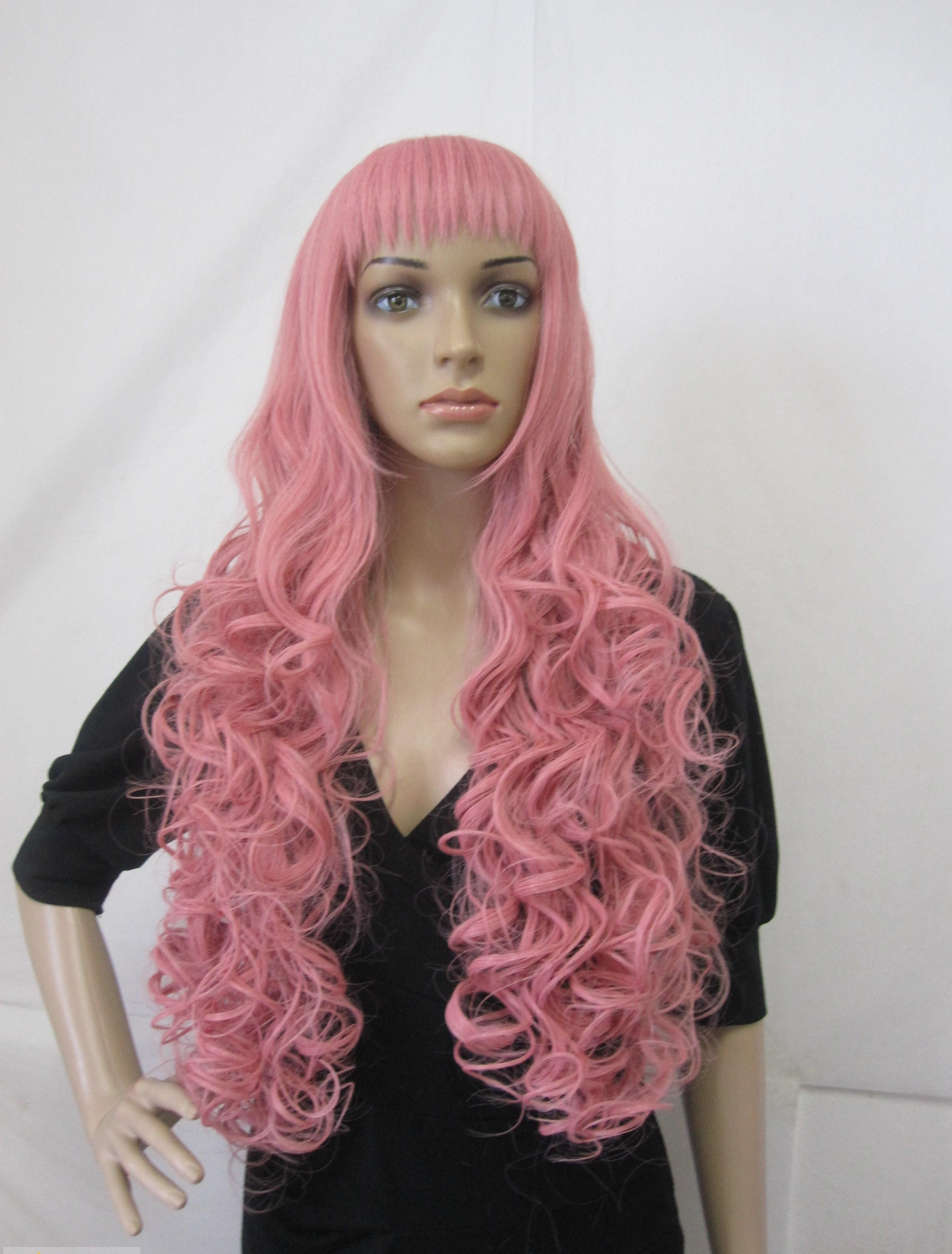 Best Capless Long Synthetic Hair Pink Wavy Curly Cheap