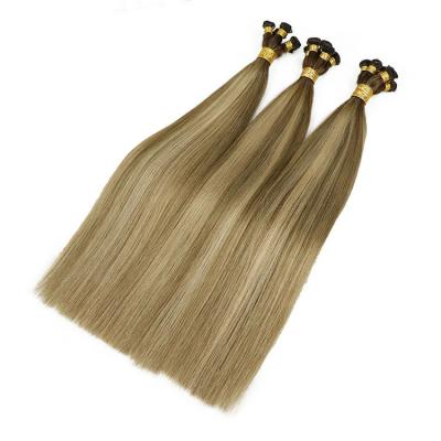 Best Hand Tied Hair Extensions Human Hair Wefts 6 Bundles/Pack Ombre #4T(#8/22)