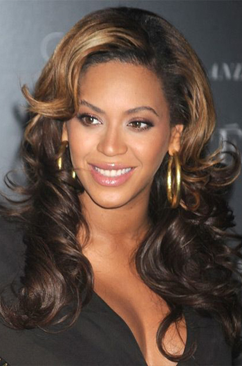 Beyonce 20 Inch Long Curly Style Golden Brown Highlights Celebrity Lace Wigs {Custom Wig Production Time 15-20 working days}
