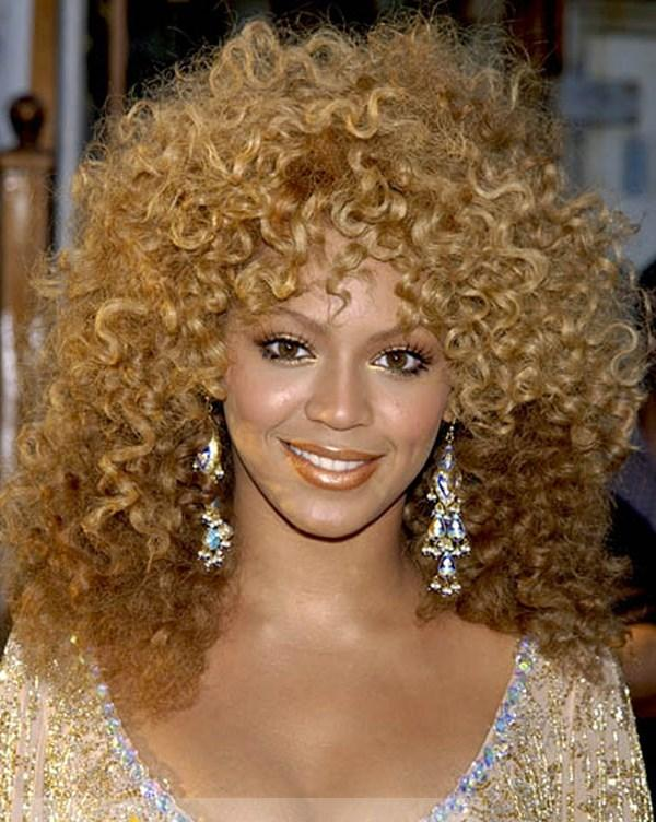 Beyonce Knowles Wigs Capless Long Curly Mixed Color Human Hair