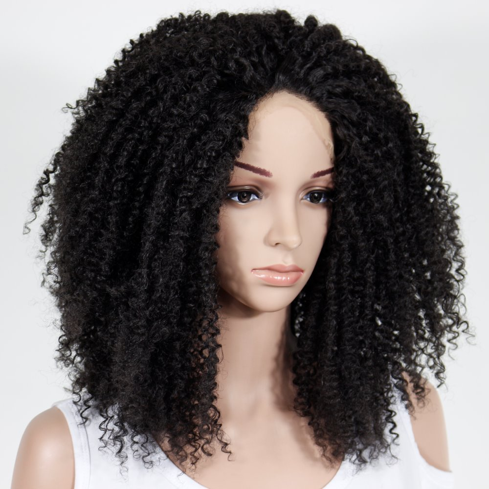 Black Afro Kinky Curly Synthetic Lace Front Wig