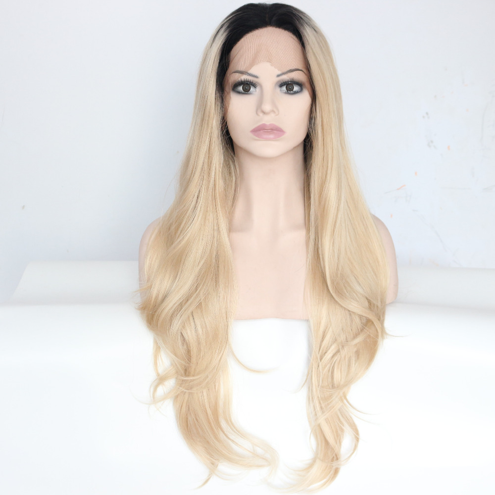 Black to Blonde Ombre Wavy Front Lace Wig For Women