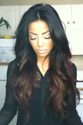 black hair with brown ombre look wavy human hair celebrity