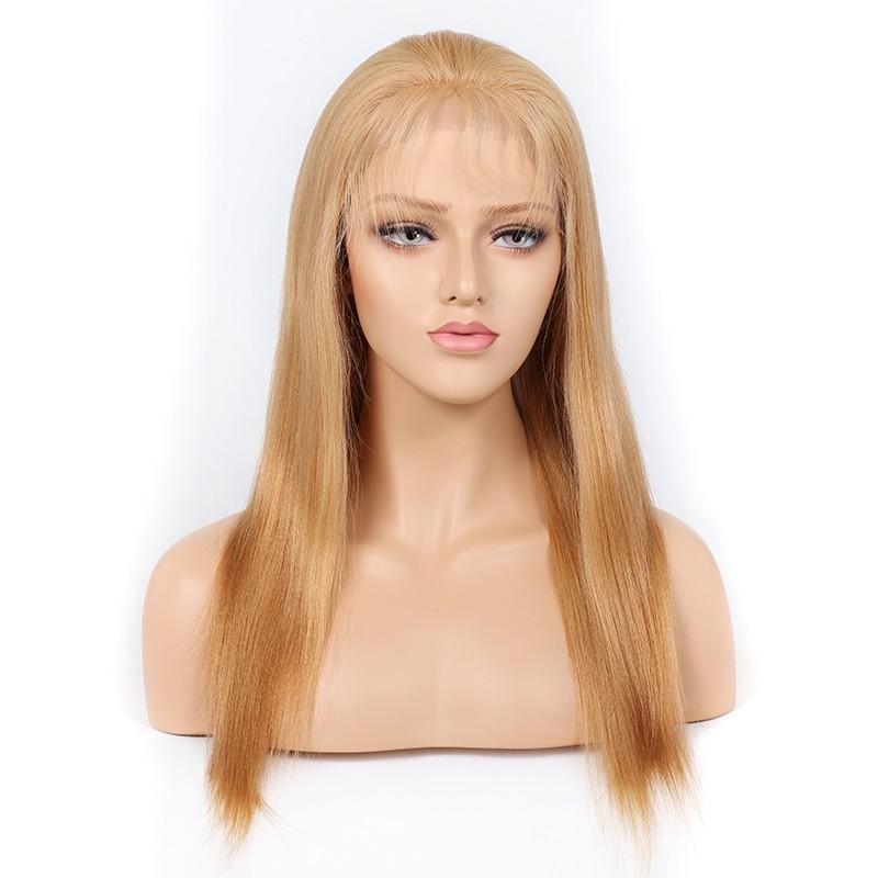 Blonde #27 Color Full Lace Wigs Peruvian Virgin Hair Light Yaki