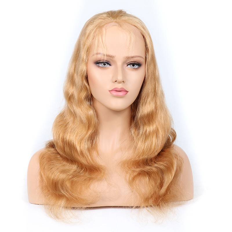 Blonde #27 Color Glueless Full Lace Wigs Peruvian Virgin Hair Body Wave