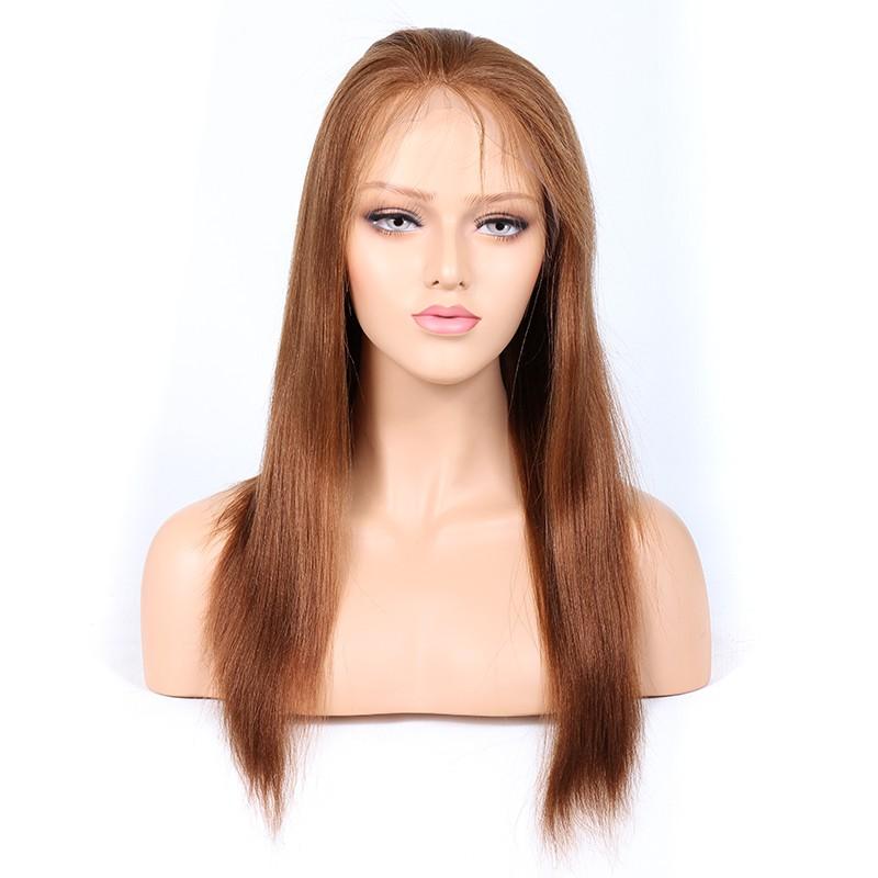 Blonde #30 Color Full Lace Wigs Peruvian Virgin Hair Light Yaki