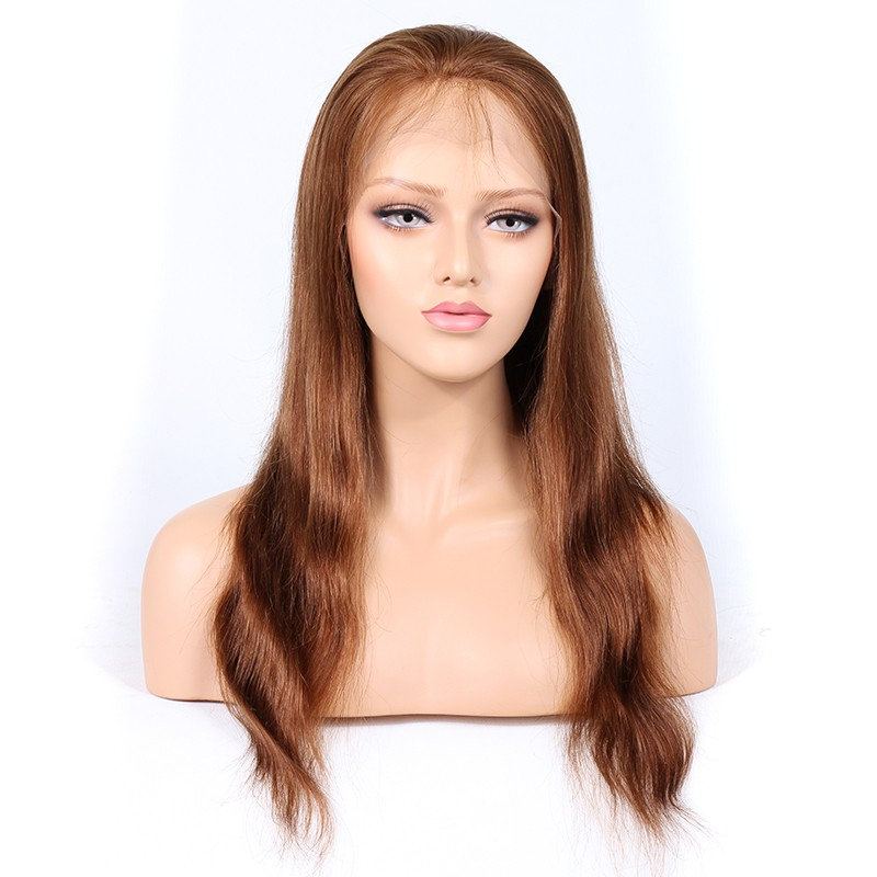 Blonde #30 Color Full Lace Wigs Peruvian Virgin Hair Natural Straight 0